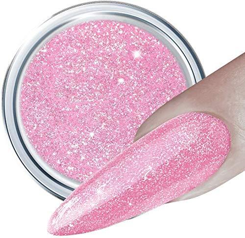 HN Hollywood nails Glitter UV Gel 180 ROSE PEARL 5 g, für Gelnägel mit Glamoureffekt