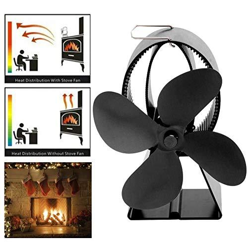 WANG XIN Herd Fan Powerless for Kamine/Kamine Holzöfen 4 Blades Ventilator Kamin Fan Umweltfreundlich for eine bessere Energieeffizienz anschaulich
