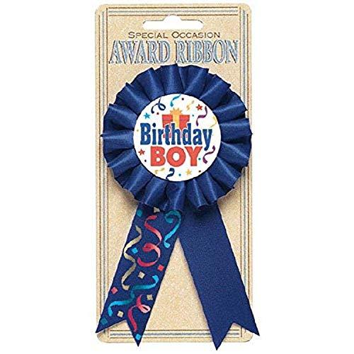 amscan Blue Birthday Award Ribbon-1 Pc, Paper