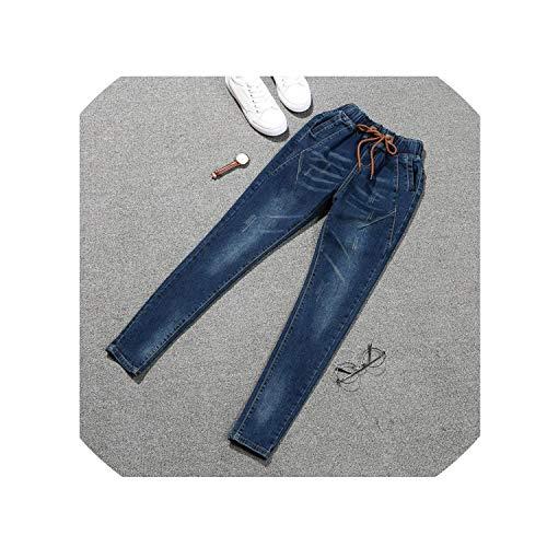 Elastische Jeans Vrouwen Plus Size 5XL Casual Mid Taille Slim Stretched Denim Pencil Broek Blauw Zwart Jeans