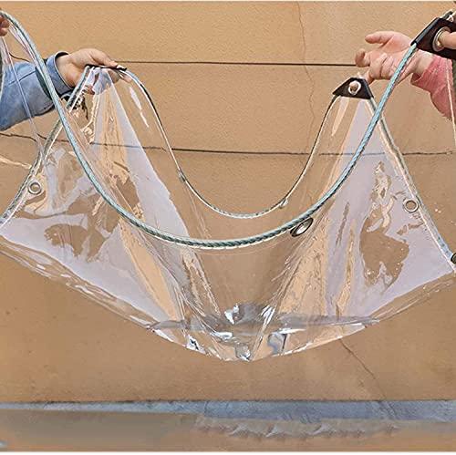 GUOTIAN Lona Transparente con Ojales,Lona Impermeable Transparente,0,5 mm Lona de plástico de PVC para terraza,Pabellón,Gradas,Protección contra el Viento,Superficie Exterior 660g / m²,0.5mm,2.3x2m