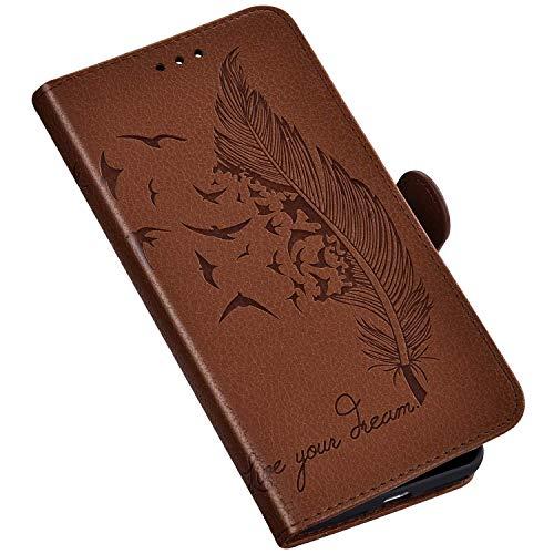 QPOLLY Kompatibel mit Samsung Galaxy A10 Hülle Leder Tasche Brieftasche Flip Wallet Case Schutzhülle Handyhülle Blumen Feder Muster Klapphülle mit Standfunktion für Galaxy A10,Braun