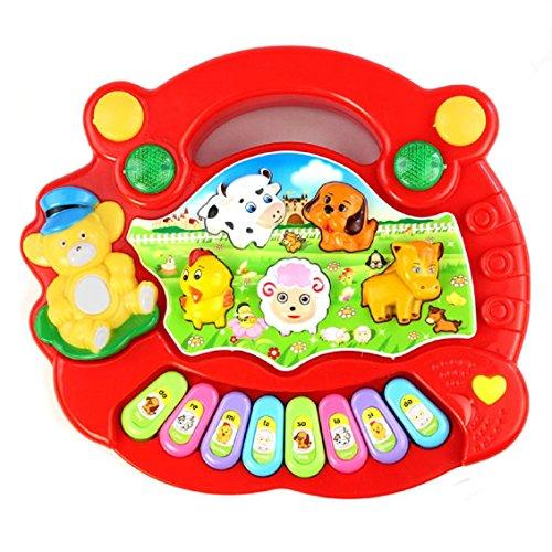 Transer Jouets pour bébé, Nouveau utile Populaire Animal Farm Musique Piano Jouet du développement pour Les Enfants (Rouge)