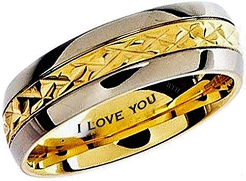 BestToHave Mens Titanium Ring-7mm Wide Engraved I Love You Classic Unisex Two Tone Wedding Engagement Comfort Fit Jewellery Band Ring - Size X (Available in Most Sizes)
