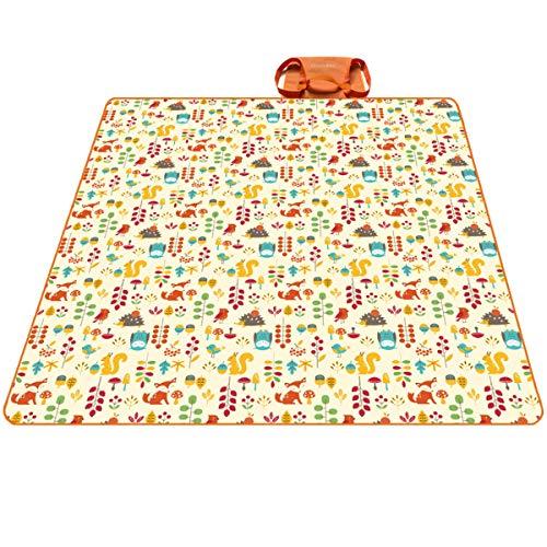 PREMYO Picknickdecke Wasserdicht 200x200 Fleece - XXL Stranddecke Groß Isoliert Waschbar - Strandmatte Gepolstert