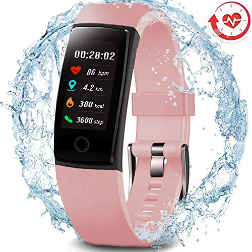 MorePro Waterproof Health Tracker, Fitness Tracker Color Screen Sport Smart Watch,Activity Tracker with Heart Rate Blood Pressure Calories Pedometer Sleep Monitor Call/SMS Remind for Women Men (Pink)