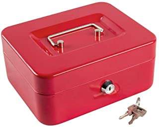 """Cash Box with Money Tray and Lock Portable Metal Money Box with Double Layer & 2 Keys for Security Lock Box 7.87""""x 6.30""""x ..."""