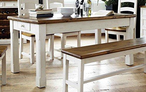lifestyle4living Esstisch, Tisch, Küchentisch, Esszimmertisch, Holztisch, rechteckig, Recyclingholz, Massivholz, weiß, honigfareben, Kiefernholz, Schublade