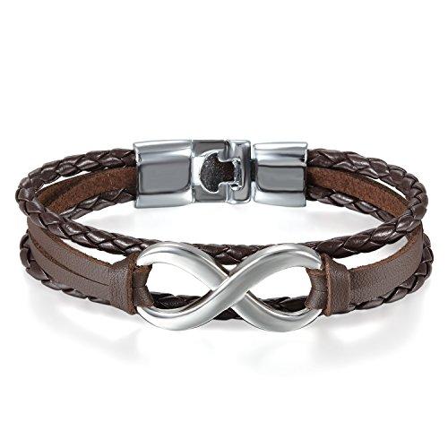 JewelryWe Schmuck Herren Damen Armband, Lieben Infinity Zeichen Geflochten Armreif, Leder Legierung, braun Silber