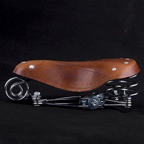 Sillín para bicicleta de cuero auténtico clásico vintage con muelles de cuero marrón nuevo