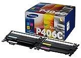 Samsung CLT-P406C, SU375A, Negro, Cian, Magenta y Amarillo, Cartuchos Tóner Originales, Pack de 4, de 4.500 páginas, compatible con impresoras LaserJet Color Serie CLP-365, CLX-3300 y CLX-3305