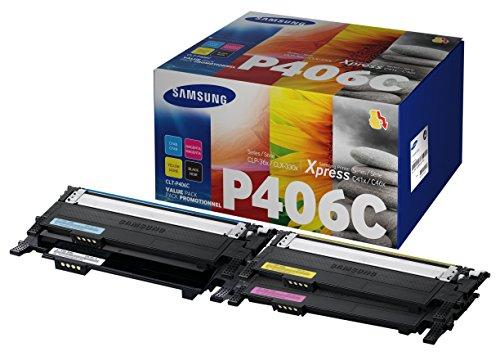 Samsung CLT-P406C Original Toner (C/M/Y/K) - Value Pack (Kompatibel mit: CLP-365 CLX-3300/CLX-3305/ C410W C460W C460FW)
