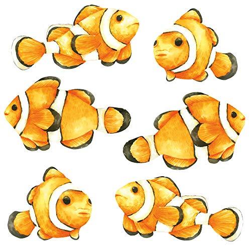 younikat 6er Set Clownfische Fensterbilder I beidseitig bunt I Deko Fenster-Aufkleber I statisch haftend I selbstklebend wiederablösbar I dv_951