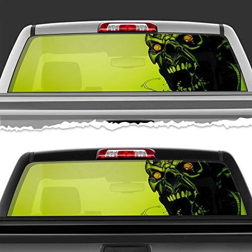 "Simynola Horrible Skull Perforated Film Car Accessories Truck Window Wrap Car Truck Decal Car Idea SUV Decal for Truck N629 FRST (14"" x 53"")"