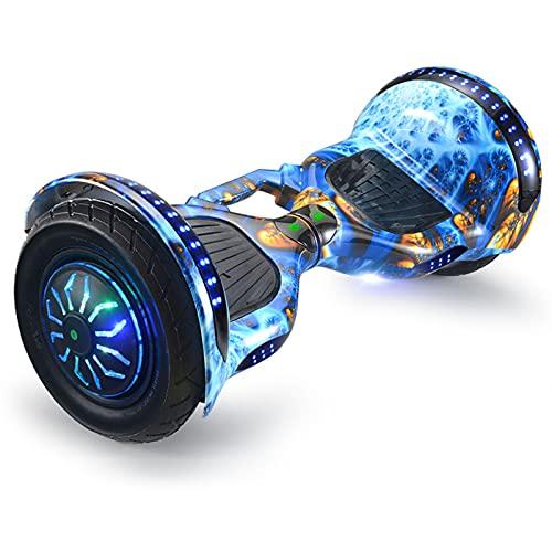 RENSHUYU Scooter autoequilibrante de 9 Pulgadas, con luz LED de conversión de Tres Colores, Bluetooth, asa portátil Que se Puede Levantar.
