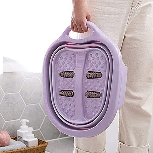 BOI Fot spa massör, bärbar fotbad bad plast/gummi vikbar hink för att blötlägga fötter för att applicera callus ta bort (lila)