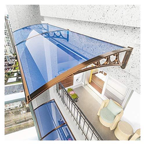 Toldo para puerta de patio, porche, toldo, ventana, viento, nieve, jardín, patio, patio, porche, protección UV (color: dorado + transparente, tamaño: 80 x 150 cm)