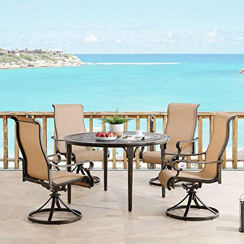 Hanover BRIGDN5PCSWRD Brigantine 5-Piece 4 Contoured-Sling Swivel Rockers and a 50-in. Round Cast-Top Table Outdoor Dining Set, Tan