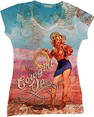 Sweet Gisele Western Retro Cowgirl up Shirt Decorated with Rhinestone Bling,Large,Multicolored