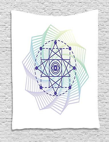 ABAKUHAUS Mandala Tapiz de Pared, Sagrado Símbolo Geométrico, para el Dormitorio Apto Lavadora y Secadora Estampado Digital, 100 x 150 cm, Multicolor
