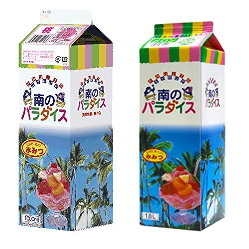 天然着色料のかき氷シロップ1L×12本セット 桃6本+メロン6本(果汁入り・保存料不使用) 業務用