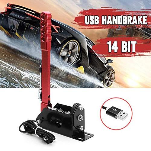 Handbrake Universal Ebrake, 14 Bit Hall-Sensor USB Handbrak SIM, for Drift Track Rally Racing Games G27/29, Windows-PC, Emergency Parking E-Brake Vertical Position,Red