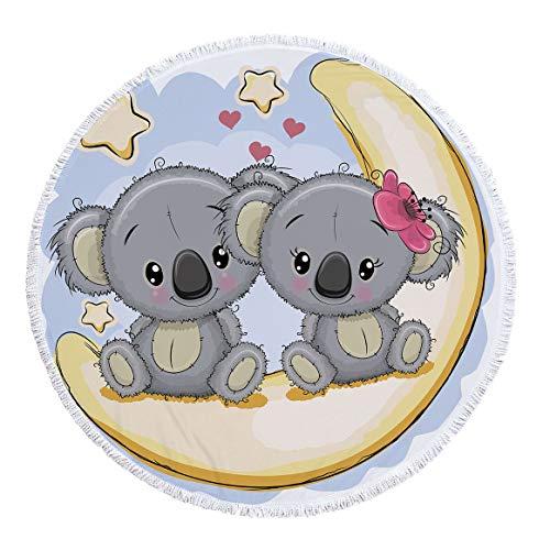 xkjymx Toalla de Playa Redonda de Microfibra Toalla de baño Cinta de impresión de Koala Borla 150cm Figura 2 150X150cm