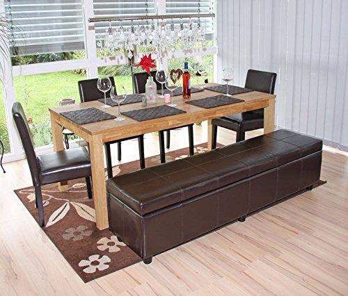 Mendler Garnitur Sitzgruppe Bank mit Aufbewahrung Kriens XXL+4 Stühle Littau, Leder - braun