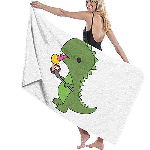 Lfff T-Rex Come Helado Suave Absorbente Ligero para baño Piscina Yoga Manta de Picnic Pilates Toallas de Microfibra 80 cm * 130 cm