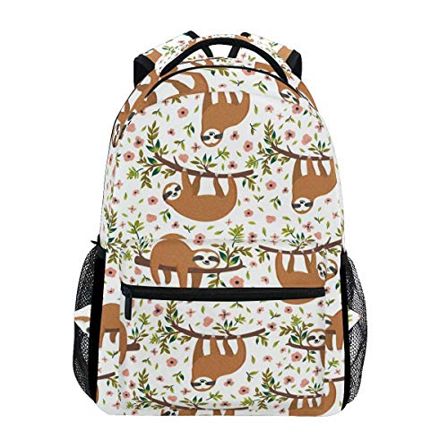 Wamika Tropical Funny Sloth Flowers Backpack Bookbags Daypack School Supplies for Students Girls Boys,Summer Palm Leaves Animal Laptop Bookbag Shoulder Bag Travel Sports for Men Women