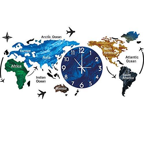 Reloj De Pared Grande, Mapa del Mundo Reloj De Pared Moderna Minimalista Decoración Acrílico Reloj De Colgante Moderna DE LA Pared Decoración para El Dormitorio Doméstico Oficina,Azul,12 Inch