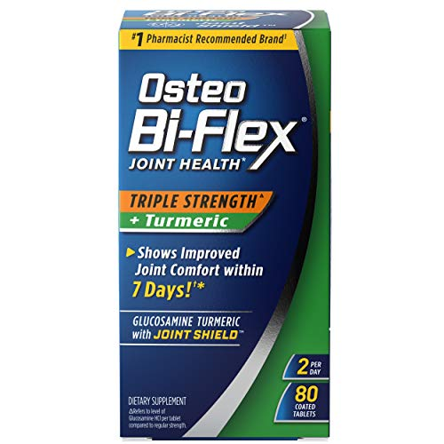 Osteo Bi-Flex Triple Strength(5) Glucosamine with Turmeric, Joint Health Supplement, Coated Tablets, 80 Count