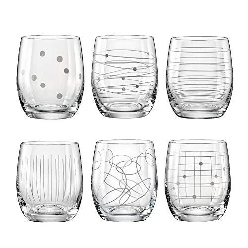 Bohemia Crystal Elements Lot de 6 verres à eau avec ornements différents 6 x 300 ml