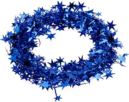 23 Feet Star Tinsel Garland Christmas Decoration (Royal Blue)