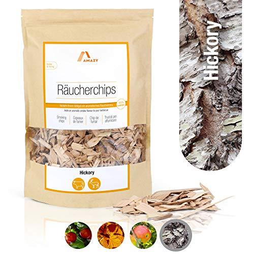 Amazy Räucherchips Hickory | 1000 g – Aromatisches Smoker Holz mit dem traditionellen Aroma Hickory für eine Starke Räucherspecknote – Ideales Raucharoma für das Grillen, Räuchern und Barbecue