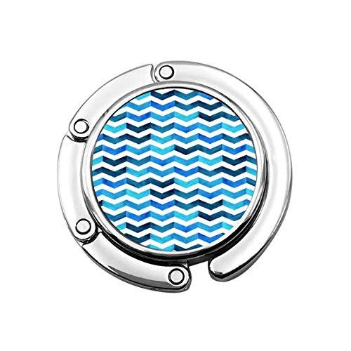 Geldbörse Kleiderbügel Geldbörse Haken Schwarz Aquarell Handmalerei Blau und Weiß Navy Tone Bunte Fischgrätenmuster Zickzack Design Schal