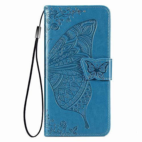 Funda de protección para Samsung Galaxy S7, diseño de mariposas y flores, funda de piel sintética con ranuras azules