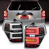ACANII - For 2010-2020 Toyota 4Runner SUV Black Housing Full LED Tube w/Sequential Signal Tail Lights Lamps Left+Right