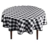 Hiasan Checkered Round Tablecloth 70 Inch - Waterproof Stain and Wrinkle Resistant Washable Fabric Table Cloth for Dining Room Party Outdoor Picnic, Black and White