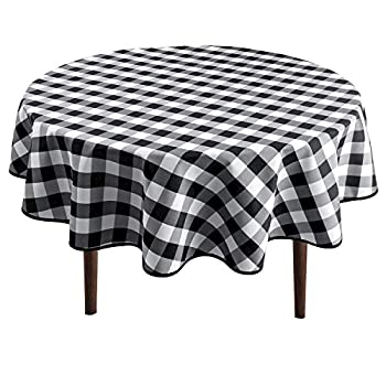 Hiasan Checkered Round Tablecloth 90 Inch - Waterproof Stain and Wrinkle Resistant Washable Fabric Table Cloth for Dining Room Party Outdoor Picnic Black and White