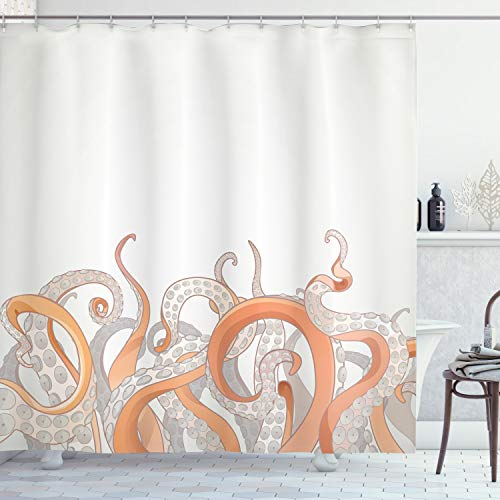 """Ambesonne Octopus Shower Curtain, Pastel Colored Tentacles on a Plain Background Underwater Marine Nature and Sea Creatures Nautical, Cloth Fabric Bathroom Decor Set with Hooks, 75"""" Long, Orange Grey"""