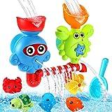 Luclay Badespielzeug für Babys, Kleinkind Badewannenspielzeug für 1 2 3 4 Jährige Babys, mit Starkem Saugnapf und 4 Meerestieren, Kinder-Wasserspielzeug-Geschenkset, Ideal für Geburtstag
