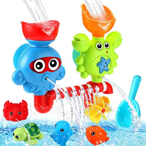Luclay Juego de Juguetes de Baño de Bebé, Juguete de Baño de Ducha Para 1,2,3,4,5 Años Niño niña regalo juguetes conjunto, Juguetes de Bañera de la Serie Marine Animal para Niños Pequeños de 1