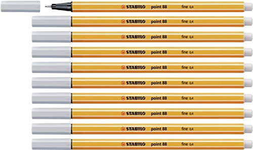 Fineliner - STABILO point 88 - pak van 10 lichtgrijs lichtgrijs