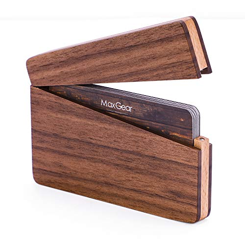 MaxGear Business Card Holder Wood Business Card Holders, Business Card Case Name Card Holder for Men Pocket Card Holder with Magnetic Closure, Walnut Beech