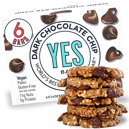 The YES Bar Dark Chocolate Chip – (6Count) Plant Based Protein, Decadent Snack bar – Vegan, Paleo, Gluten Free, Low Sugar, Healthy Snack, Breakfast, On-The-Go, for Kids & Family, 8.4 Ounce