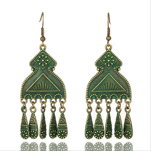 Pour les femmes Boucles d'oreilles bohèmes pour femmes et filles Élément géométrique Tassel Patternfringe Shape Clear Style Light Blue 2