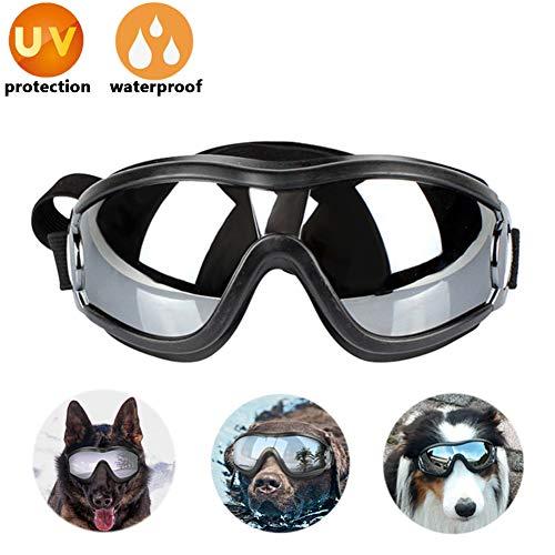 Lvozize Dog Goggles - Hunde Sonnenbrille Haustier Sonnenbrille Wasserdicht Winddicht UV-Schutz Augenschutz für das Reisecamping und Anti-Fog, Verstellbarer Gurt Für Mittlere und Große Hunde