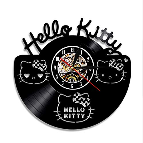 OZ6YA Reloj de Pared con Registro de Vinilo Hello Kitty Personalizado, Estilo...