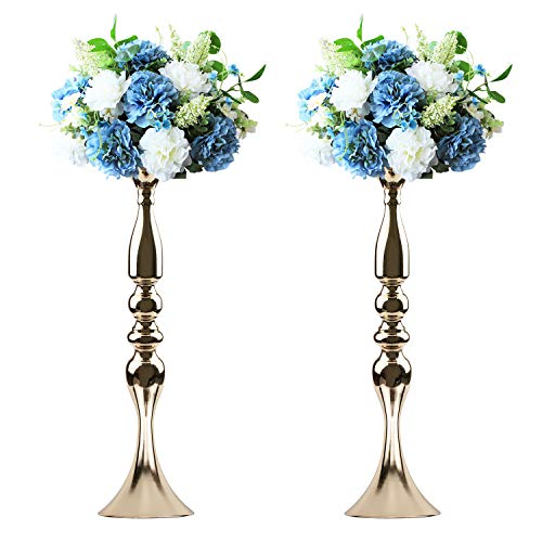 Tosnail 2 Pack 19.5' Tall Gold Candelabra Candle Holder Vase for Wedding Flowers Centerpiece
